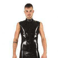 Mister B sleeveless rubber T-shirt with collar and front zip