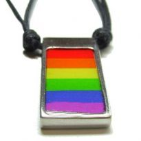 Rainbow flag in the pewter with string