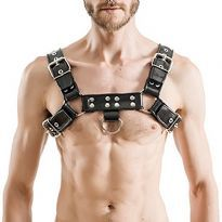 Mister B Rubber Chest Harness - Black/Black