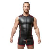 Mister B Neoprene Sleeveless T Zip - Black/Red