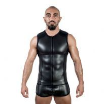 Mister B Neoprene Sleeveless T Zip Black/Black
