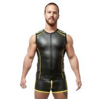 Mister B Neoprene Sleeveless T Zip - Black/Yellow
