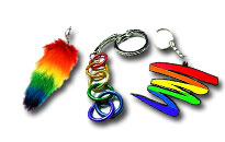Rainbow coloured key hangers, Rainbow key hangers and chains, Key hangers with rainbow colors, Pride key hangers in rainbow colours