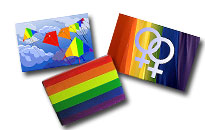 Fridge magnets with gay theme, Rainbow magnets for gay home
