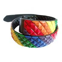Rainbow leather belt with studs