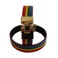 Rainbow bracelet in leather.