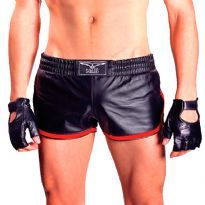 Leather sport shorts with red stripes