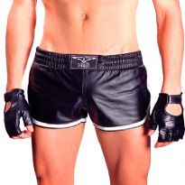 Leather sport shorts with white stripes