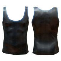 Rubber tank top with blue edges