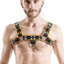 MisterB Rubber Chest Harness - Black/Yellow