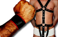 Leather accessories and harnesses for men, Leather for gay guys at great prices, Wear leather in bed, Wear leather in fetish party