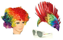 Wigs for the gay pride parade, Rainbow wigs in beautiful colors, Rainbow face paint for the gay pride